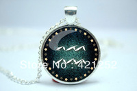 10pcs/lot Aquarius Necklace, Zodiac Sign Pendant, Constellation Jewelry Glass Cabochon Necklace