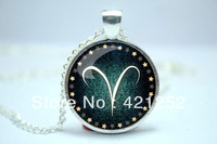 10pcs/lot Aries Necklace, Zodiac Sign Pendant, Constellation Jewelry Glass Cabochon Necklace