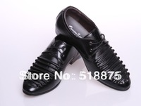 New Style 2013 Mens Black Genuine Leather Business Shoes,Size 41-44 Slip-on Wedding Shoes,Fashion Oxfords Working Shoes