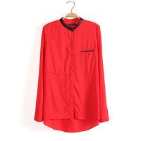 Free shipping2013 Autumn New American European Style  Women cotton Blouse PU collar  Medium long shirt Loose Pullover