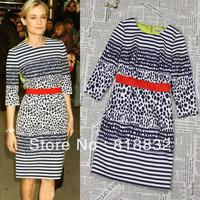 Free Shipping New 2013 Autumn Women's Fashion Elegant Patchwork Printed Leopard Stripe Celebrity Style One Piece Karen Dress