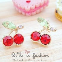Ocean jewelry store fashion cherry earrings ( free shipping $10 )  E205
