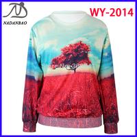 Women hoody The Tree of Life  Digital Print Sweatshirt Long Sleeve Galaxy Black Milk Sky Loose Sweatshirt WY-2014