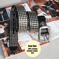 100% Genuine Leather Vintage Punk Rivet  2014 Unisex Rock Belts For Women Fashion Men Hip Belt Male Strap Ctintos Red MBT0074