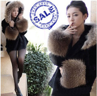 Autumn and winter hooded black-and-white two-color fur coat outerwear short design overcoat fur formal