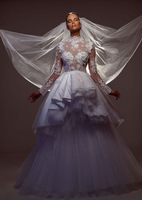 Sheer Bodice High Neck Long Sleeve Arabic Wedding Dress