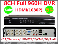Wholesale P2P Cloud CCTV 8CH DVR D1/960H H.264 Standalone home Security System 1080 HDMI 8channel DVR recorder+Free shipping