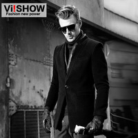 viishow2013 men's long jackets trench coat dress jacket long brand fashion winter leather suit collar black gray outerwear coats