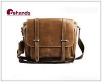 2013 Men Messenger Bags Genuine Leather Handbags Shoulder Bags Khaki Briefcases Purses BH9112+Free Shipping
