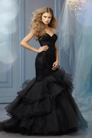 Organza Layered Trumpet Mermaid Black Wedding Dress