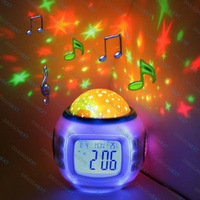 Free Shipping +10 PC Music Starry Star Sky Projection Alarm Clock Calendar Thermometer LCD Alarm Clock LED-5019