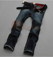 Free Shipping 2013 New Arrival Men Brand Fashion Denim Jeans Pants Cotton Slim Straight Long Trousers Washed Vintage Design