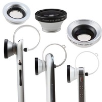 Clip 3 in 1 Siver 180 Degree Fisheye Lens + Wide Angle Lens + Macro Lens for iPhone Samsung Galaxy Tablet PC with Camera Lens