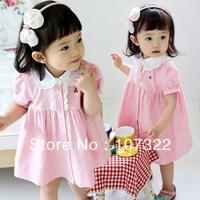 Summer child pink bear laciness turn-down collar short-sleeve dresses girls princess dress  632488