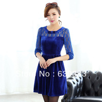 New fashion 2013 women fall lace chic dress plus size xxxl female vestidos long sleeves pleuche one-piece dress  illusion dress