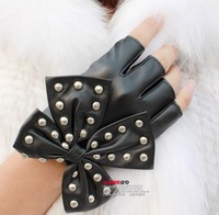 2013 New Womens Fashion Leather Gloves Rivet punk Big Bow Half Finger Leather Gloves Women's Mitts