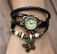 New Cow Leather Strape Wrist Watch Women Ladies Fashion Vintage Butterfly Quartz Watch, Good Quality