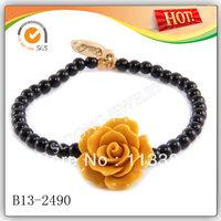 Yellow Rose Flower on Black Onyx Strand Elastic Bracelet Wholesale 2013