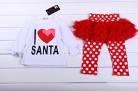 New 2013 Autumn children's clothing girls long-sleeves t-shirt + dot pants with skirt 2 pieces suit kids clothes