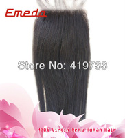 Emedahair hair procucts hot sale Brazilian closure piece yaki straight top lace closures 8-24 inch free style for women