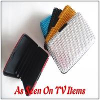 Free Shipping 200pcs/lot Rhinestone Bling Aluminum Aluma Wallet As Seen On TV Diamante Bling Aluminum Credit Card Wallet Holder