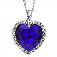 Titanic Ocean Heart Pendant Necklace For Women Crystal Rhinestone Jewelry Accessories Gift 2013 Wholesale 21116114