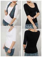 Free shipping 2014 spring and autumn women's half sleeve tight t-shirt low collar lycra cotton white slim basic o neck shirt