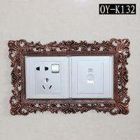 Fashion switch sticker cover plate Vintage Home Ddecoration Resin Cover Lace socket outlet wall sticker Christmas Gift