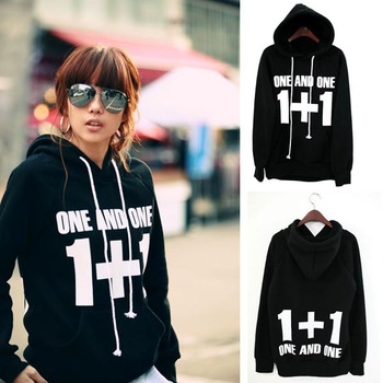 2013 Autumn Winter Good Quality Comfort Lady Casual Black 1+1 Graphics Tops Hoodie Sweatershirt  G826