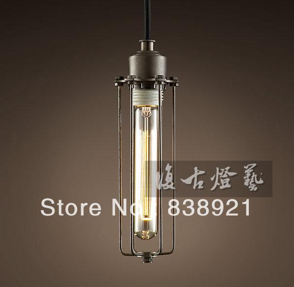 Free shipping American single head pendant light tieyi loft bronze color tube cages pendant light personalized edison bulb lamp(China (Mainland))