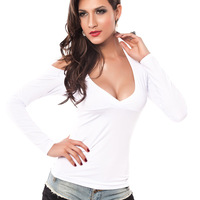 retail women's sexy V Neck Slim long-sleeved T-shirt lady beauty solid sexy t-shirt25052