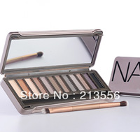 Free Shipping 1PCS Naked High Quality Eye Shadow Bare Makeup 12-Colors Eye Shadow With Eye Shadow Brush