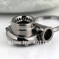 M86097-1 Auto Parts Model Gunmetal Black Color Sleeve Spinning Turbine Turbocharger Turbo Keychain Keyring Key Chain Ring Keyfob