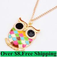 Super Cute Fat owls colorful necklace  cxt8158