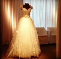 free shipping 2014 new design fashion girls' dress halter bridal gown small train custom size/color retro white wedding dresses