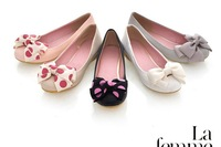 Spring and autumn Female single flats  shoes  round toe bow soft outsole flower shallow mouth women's flat heel single shoes