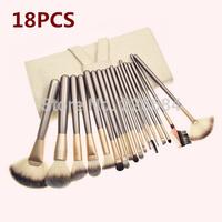 18pcs Makeup Brush set  Cosmetic brushes kits Make-up tools Brown Wood handle Goat Hair perfect for Studio or Personal