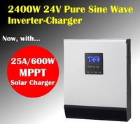2400w 24v to 220V solar inverter charger with mppt solar charger 25A  pure sine wave inverter