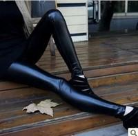 2014 new fasion women velour leggings Matt faux leather pants  fashion legging all-match plus velvet faux leather pants