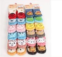 12Pcs=6Pairs Lovely Cartoon Baby Socks Anti Slip Cotton With Animal Unisex Slipper Shoes Newborn kids socks 0-24Month