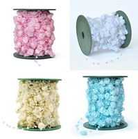 10M 12mm&4mm White/Pink/Blue/Beige Rose Flower Pearl Bead Garland Hair Stying Wedding Decoration Craft DIY
