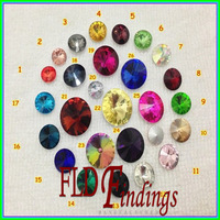 MIX COLOR  Rivoli Crystal Top Fancy Round Stone  8mm~18mm