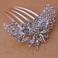 Fashion Luxury  Flower Rhinestone  women Hair Comb Jewelry Women Tuck Comb headband  Party wedding hair accessories bridal  J14