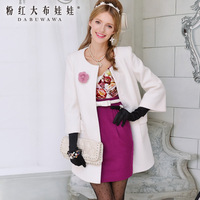 2013 Autumn and winter White bow fur collar  loose wool coat for women