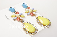 ZH0736 2 Colours  New arrive Fashion neon Pink  yellow Crystal Flower Drop Earrings Vintage Brand Luxury Statement Jewelry Women