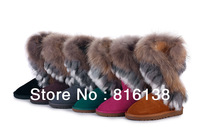 Free shipping 2013 warm fashion snow boots fox rabbit fur leather women's shoes six color size36-41