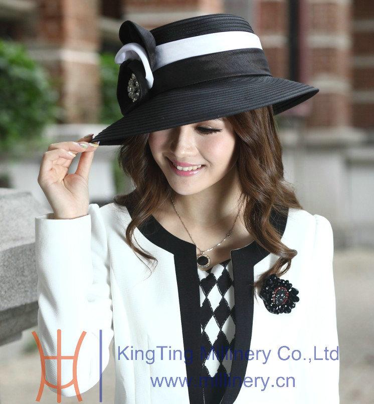 Livraison gratuite vente chaude de haute qualité ladies église chapeaux Satin tissu nouvellement conçu Satin ruban fleur broche Derby chapeau(China (Mainland))
