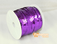 100 yards / roll, 6 mm string line sequins, PVC glitter sequins,Violet sequins  clothing footwear accessories,Free shipping
