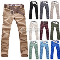 Fashion New Stylish Mens Casual Slim Straight Leg Chino Long Pants Trousers Size M L XL XXL XXXL Free Shipping