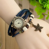 W49 2013 New Wholesale Vintage 6 Colors Alloy Star High Quality Leather Women Quartz Bracelet Watch